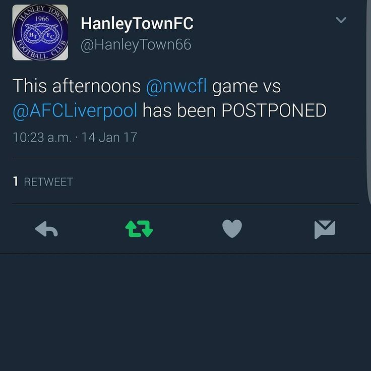 Today's scheduled match versus Hanley Town FC has been postponed. We now look ahead to next Saturday where we are at home to Barnton FC