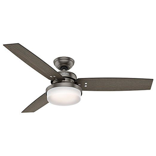 "Hunter 59211 52"" Sentinel Ceiling Fan with Light and Remote, Brushed Slate   Hunter Fans Low Profile Ceiling Fan Outdoor Fans Flush Mount Ceiling Fan Rustic Ceiling Fans Harbor Breeze Ceiling Fan Hampton Bay Ceiling Fan Ceiling Fan Light Kit Ceiling Fans Lowes Home Depot Ceiling Fans Lowes Ceiling Fans"