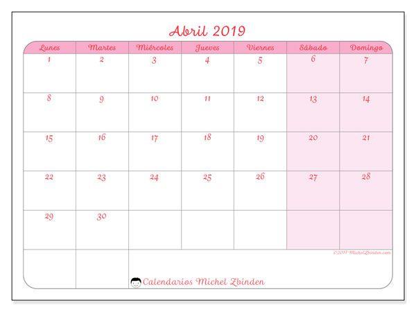 Calendario Mr Wonderful 2019 Para Imprimir.Calendario Abril 2019 63ld Calendario Calendario Para