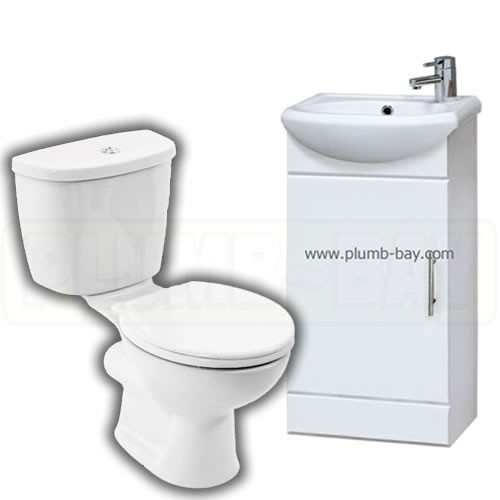 400mm Compact Basin and Unit Complete with Georgia Toilet - ££159.99  http://www.plumb-bay.com/400mm-basin-unit-toilet