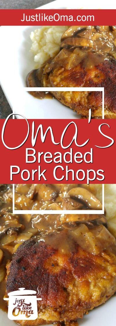Breaded Pork Chops Recipe -- German-style ❤️ made just like Oma! http://www.quick-german-recipes.com/breaded-pork-chop-recipes.html