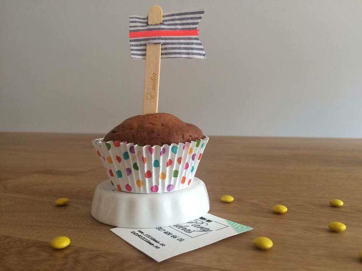Marcadores de cupcakes en tela para babyshower