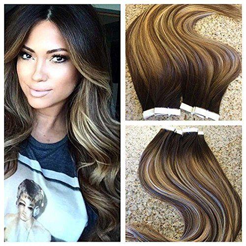 "Full Shine 20"" 20 Pcs 50 Gram Per Package Salon Quality Professional Hair Color #2 Fading to #3/27 Dip Dye Hair Extensions Glue in Hair Extensions Human Hair"