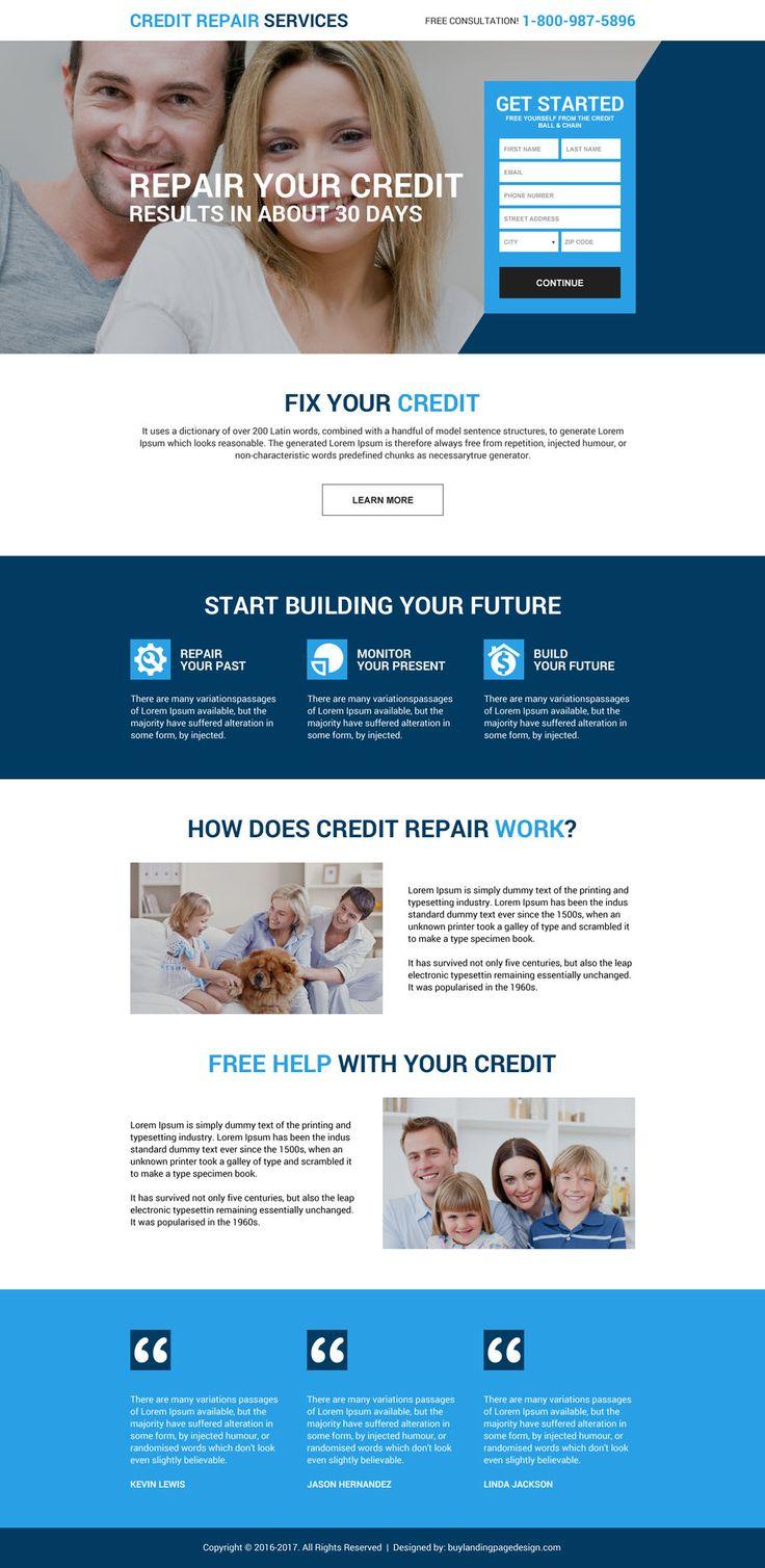 17 best credit repair landing page design images on. Black Bedroom Furniture Sets. Home Design Ideas