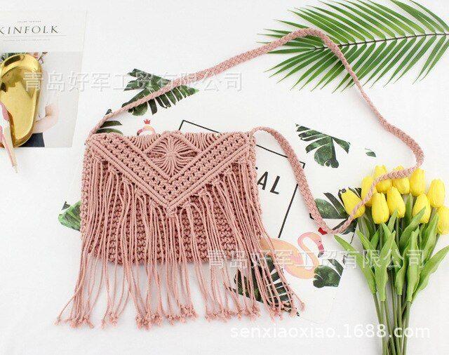 Crochet shoulder tassel fringe beach bag cotton handbag bags uk