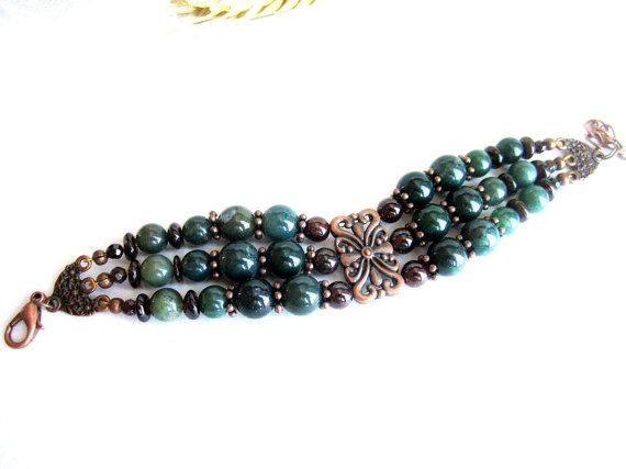 Multi strand gemstone beaded bracelet garnet by MalinaCapricciosa
