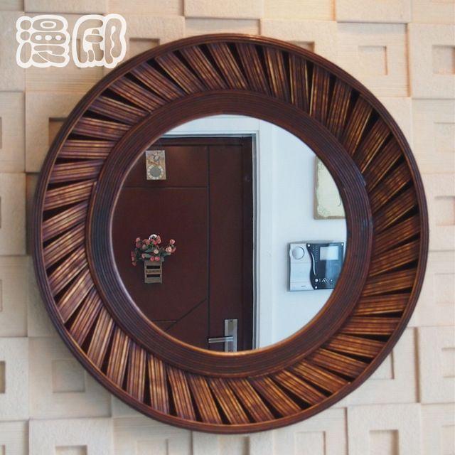 Kingart antiguo más grande de bambú y madera marco redondo pared pared de la sala Mural Deccorative grande espejo de pared
