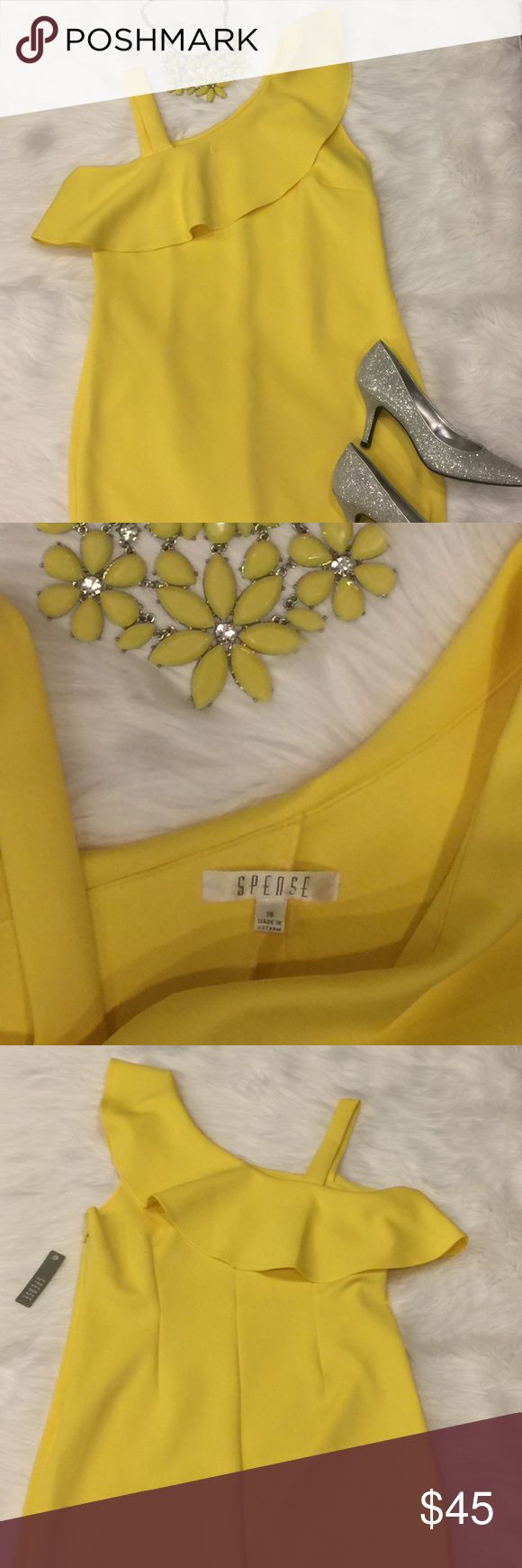 🆕 Spense lemon yellow plus size dress SZ 14 Unbelievably adorable lemon yellow colored Spense plus size dress in a size 14. New with tag attached. Supple thick but stretchy fabric sure to accentuate gorgeous curves, darts sewn in the back! Sexy one shoulder design, with ruffle details. Zipper side closure. Spense Dresses Midi