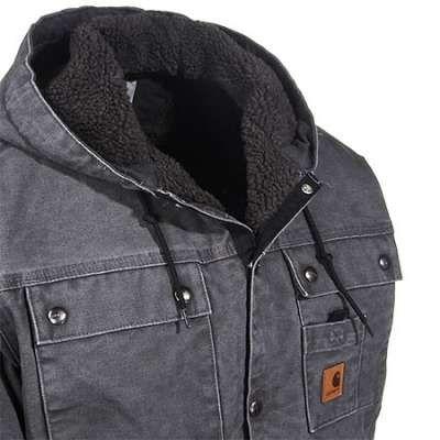 Carhartt Jackets: Men's J284 GVL Gravel Grey Lined Sandstone Duck Hooded Jacket