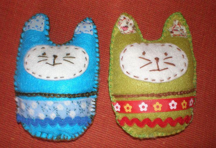 Juegos De Baño Hechos A Mano:Lídia, gatitos de fieltro, hechos a mano