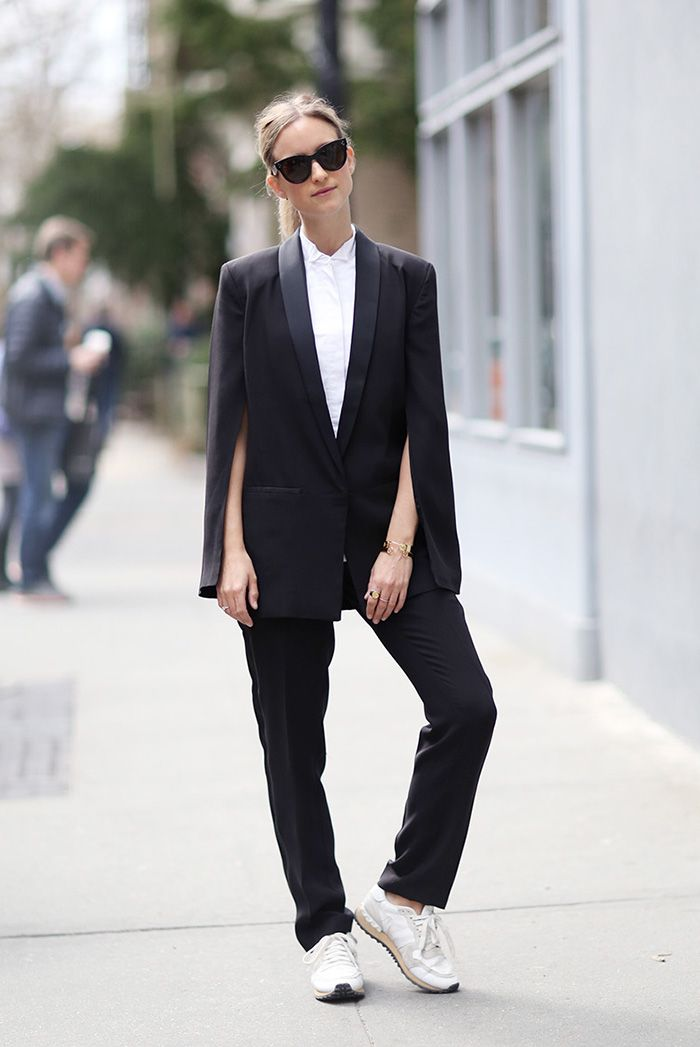 spring / summer - street style - business casual - work outfits - party style - black and white - black & white - b&w - black tuxedo cape blazer + black sunglasses + white shirt + black trousers + white sneakers + black stilettos