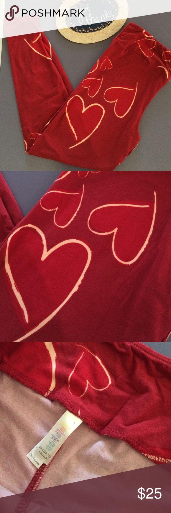 Lula Roe tall and curvy leggings hearts So super soft! EUC! Adorable red hearts! LuLaRoe Pants Leggings