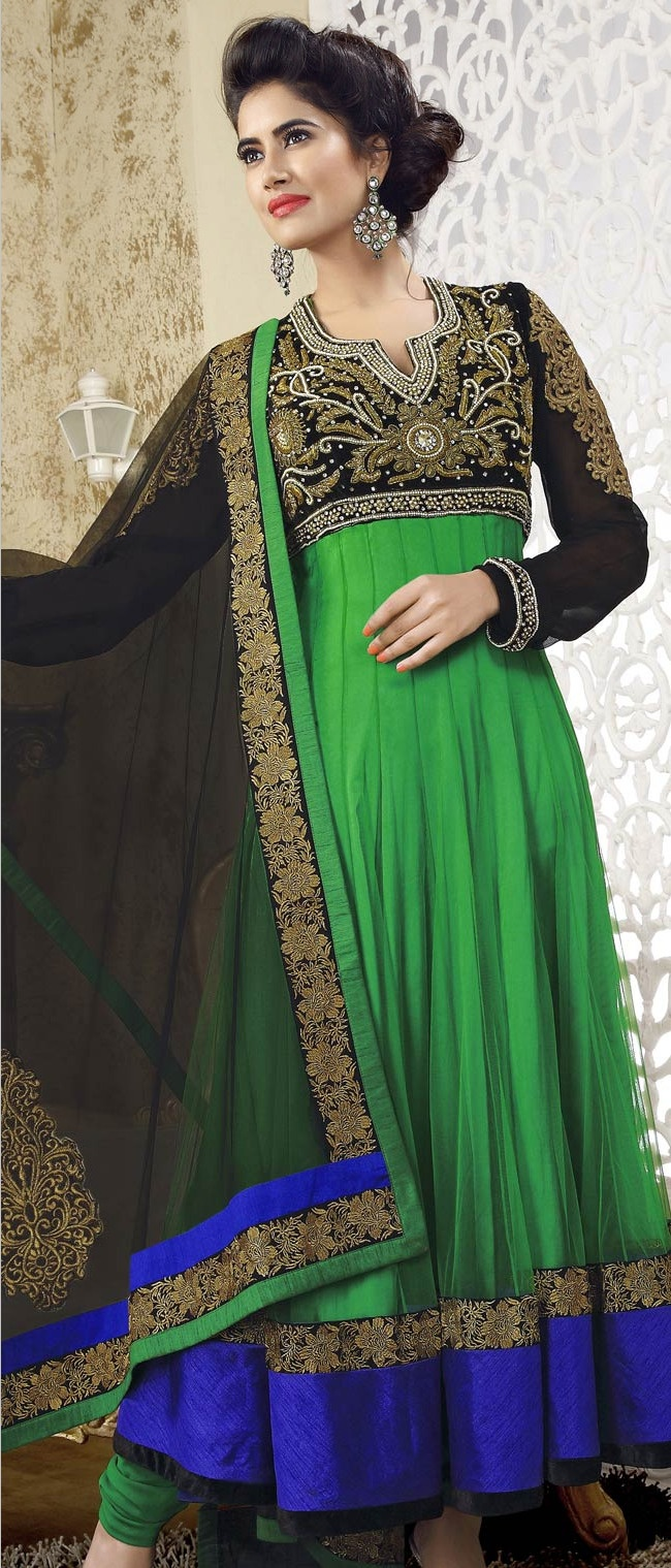 Parrot #Green Net #Churidar Kameez @ $280.09