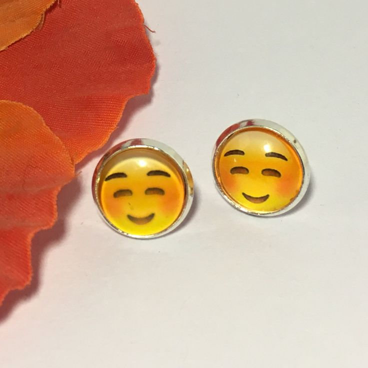 Emoji stud earrings, blushing emoticon, Silver plated metal, glass dome, smiling emoji by Buttonsheduk on Etsy