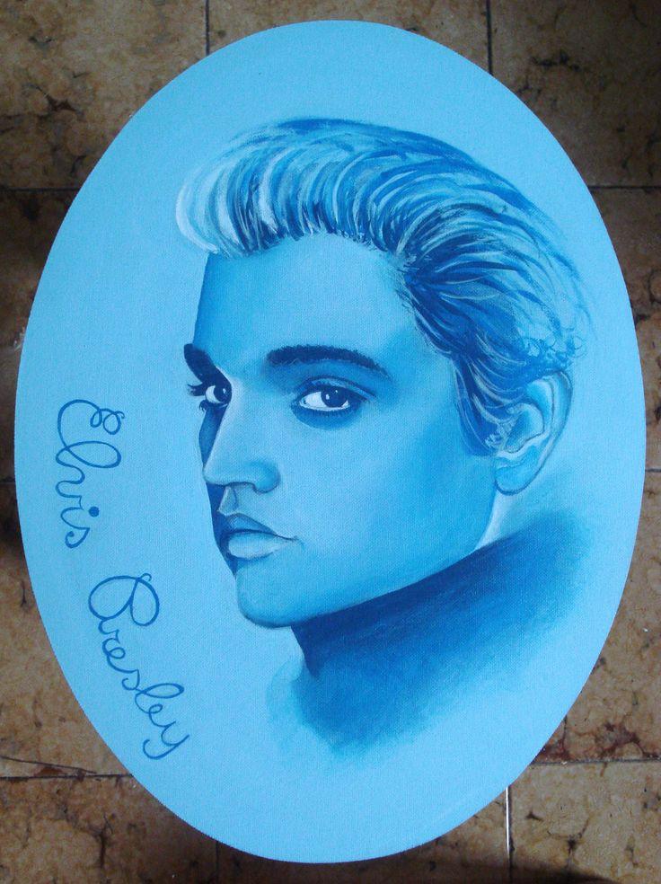 Elvis Presley - colori acrilici su tavola di legno ovale, di miusììsure 30x40 cm