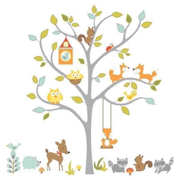 £38.50. Dotty hippo. Woodland Fox and Friends Giant Tree Wall Stickers