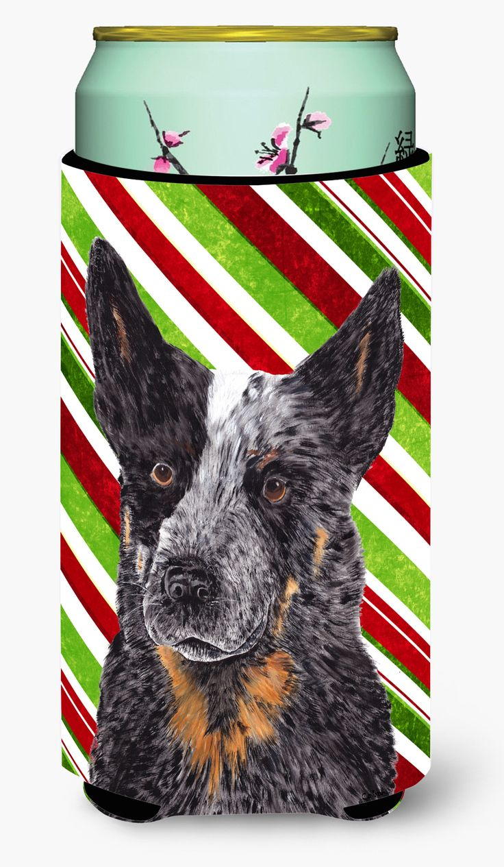Australian Cattle Dog Candy Cane Holiday Christmas Tall Boy Beverage Insulator Beverage Insulator Hugger