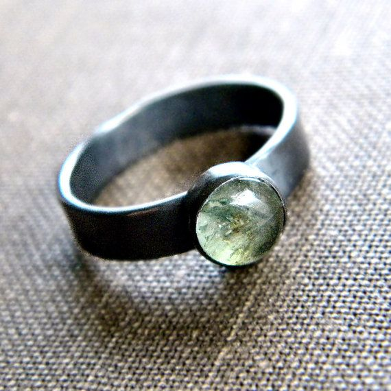 Sage Green Emerald Oxidized Sterling Silver Ring  by TheSlyFox, $63.00