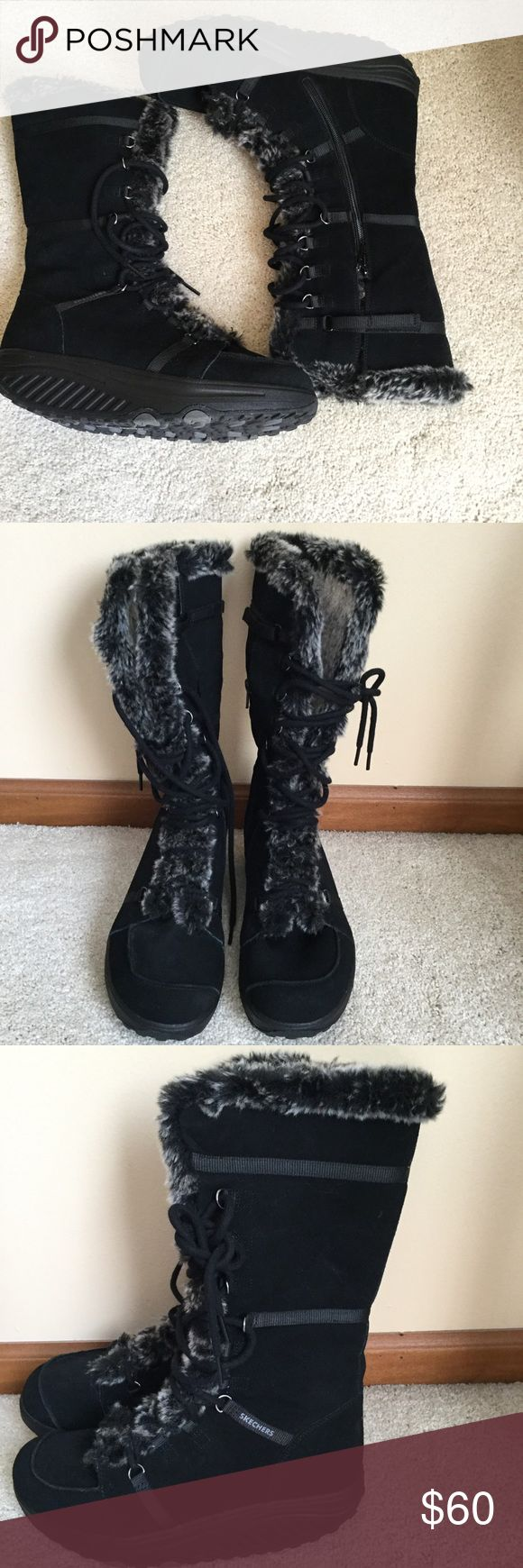 "Skechers black leather boots .11"" lenght from heel 95% life left on them , worn few times , no issues . Lace up front , zip side with Velcro closure , half fur inside lining and thong . Let her upper , textile fur . ❌Price firm . Skechers Shoes Winter & Rain Boots"