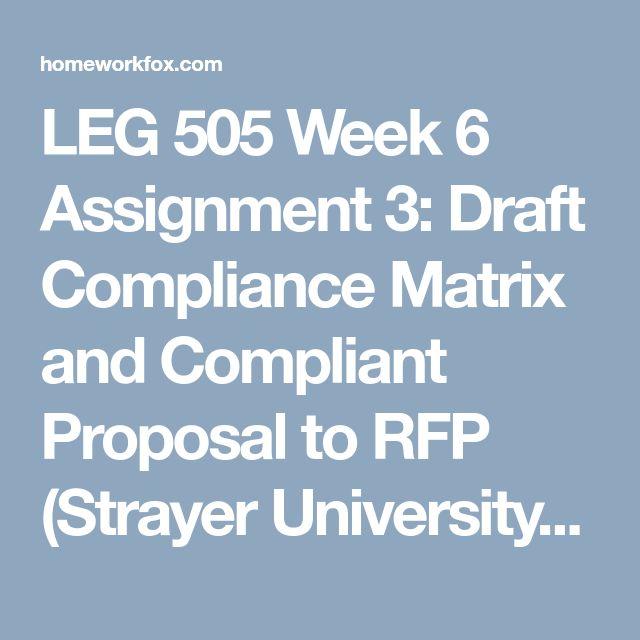 LEG 505 Week 6 Assignment 3: Draft Compliance Matrix And