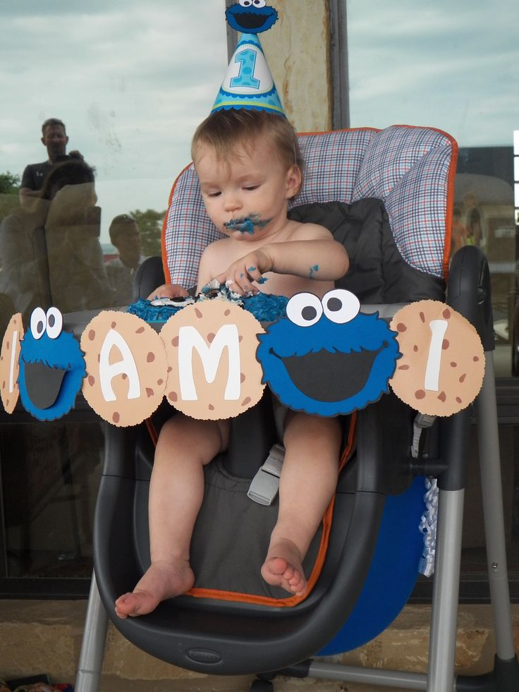 I am 1 Cookie monster high chair banner