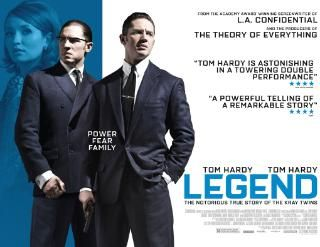 Legend is a 2015 British crime thriller written and directed by Brian Helgeland, which deals with the rise and fall of the Kray twins and their gruesome career to their downfall. Tom Hardy, Emily Browning, David Thewlis, and Christopher Eccleston star with Chazz Palminteri, Paul Bettany, Colin Morgan, Tara Fitzgerald, and Taron Egerton as well as singer Duffy featured in supporting roles.