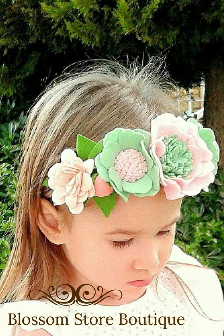 Trendy headband baby girl headband SPRING SWEET BLOSSOM Felt Flower headband felt headband Baby felt headband Felt Baby headband
