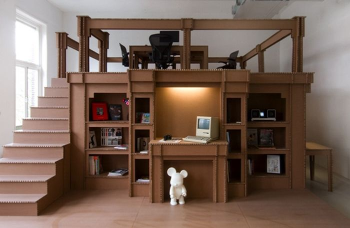 An entire office made from corrugated cardboard!
