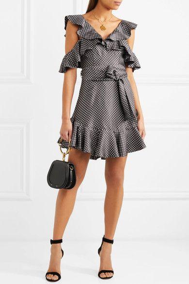 46523f6326 Zimmermann - Cold-shoulder Ruffled Polka-dot Ottoman Mini Dress - Charcoal
