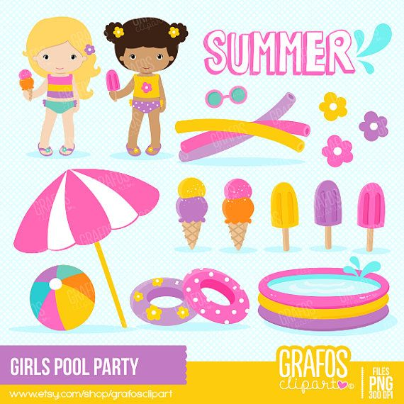 Please, take a minute to read the policies before you purchase. GIRLS POOL PARTY Digital Clipart set -You will receive: • 31 Individual Graphics • PNG files in High-Resolution 300 DPI These have Transparent Background, meaning that you can place the individual clipart on any color or
