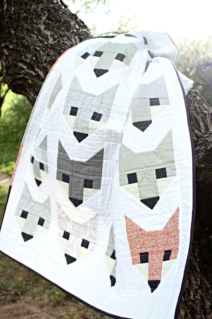 grey gray fancy fox quilt