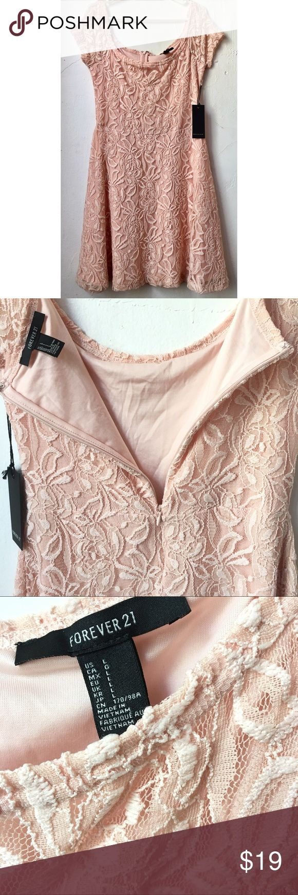 Forever 21 dress. Forever 21 light pink dress in size Large but fits medium too. Never worn with tag. Purchased years ago at the soho store location. Fabric is super stretchy!  Price firm! Forever 21 Dresses