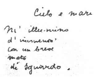 manoscritti poesie ungaretti - prima stesura -M'ILLUMINO D'IMMENSO 1917 il piu' grande