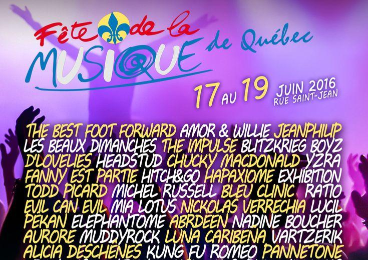 La Fête de la Musique de Québec, c'est pour vous! Du 17 au 19 juin prochain, rendez-vous sur la rue Saint-Jean, en plein coeur du quartier Saint-Jean-Baptiste, pour assister à plus d'une soixantaine de spectacles qui sont offerts gratuitement au public afin que tous puissent célébrer la musique comme il se doit!