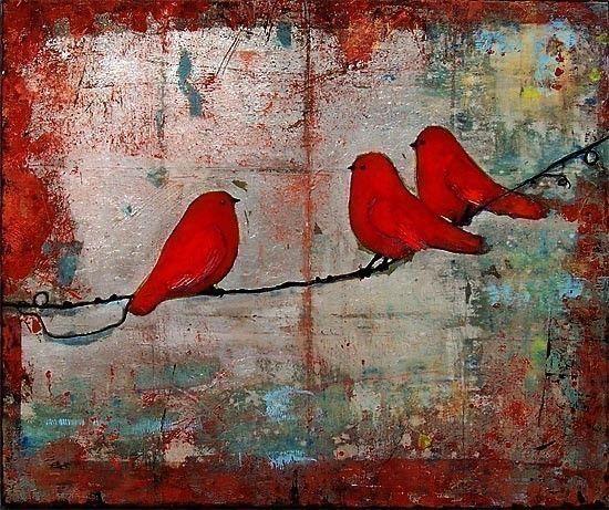 Three Little Birds, Art Print, Ruby Red Birds on a Wire, Fine Art Print, Wall…