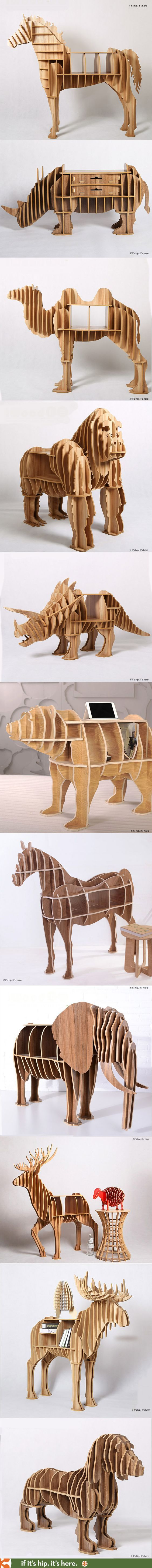 The 20 most awesome animal bookcases, desks and end tables you can buy. They ship flat-packed and are easily assembled without nails or glue. More at http://www.ifitshipitshere.com/awesome-animal-furniture/