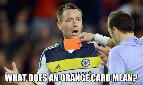 Orange card soccer meme