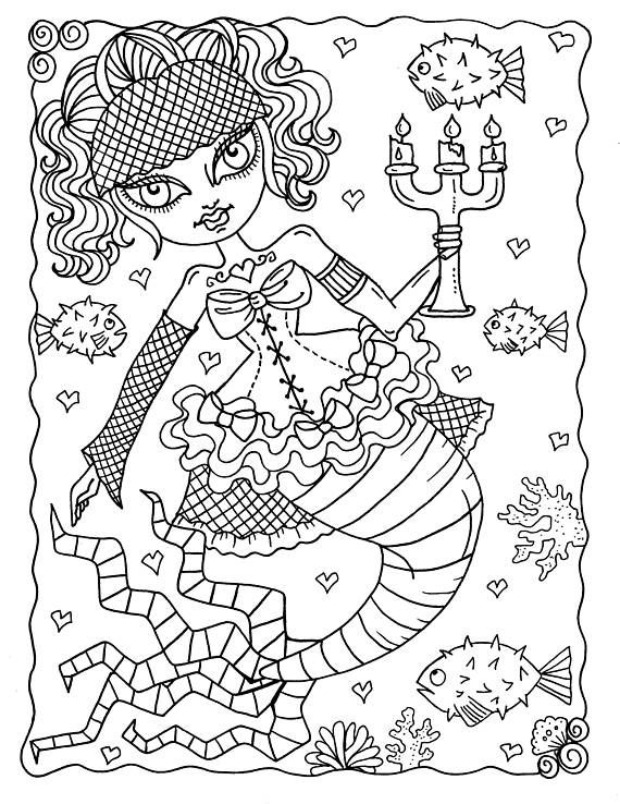 5 Pages Gothic Mermaids Digital Coloring Pages Set Of 5 Digi Etsy Mermaid Coloring Book Mermaid Coloring Pages Coloring Books