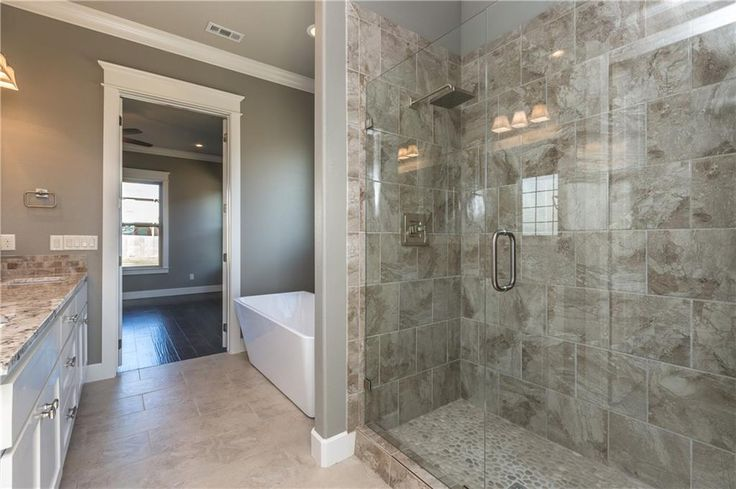 Glass Walk In Master Shower And Stand Alone Tub