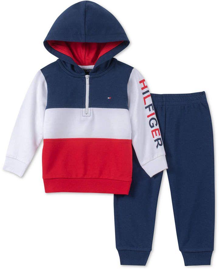 Tommy Hilfiger Grey Baby Boys 2-Pc 24M Fleece Hoodie /& Jogger Pants Set