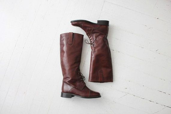 tall leather boots / vintage riding boots / brown leather boots 7 on Etsy, $129.00