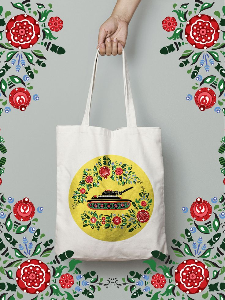 Make Art not War, ecobag with russian national Gorodets painting   Design  by Mariia Filonenko