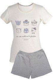 MUZZY nightwear, piżama, koszulka + krótkie spodenki, beżowa, kotki, więcej na www.muzzy.pl/sklep