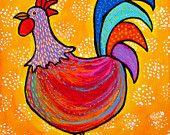 Little Red Rooster, Folk Art Print
