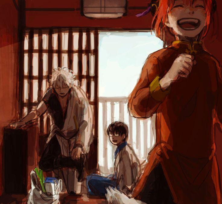 Gintama - Gintoki, Shinpachi & Kagura (sweet family!) - by Pixiv Id 1195817