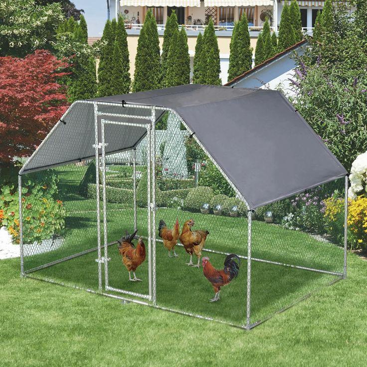 Sharma Galvanized Metal Chicken Coop Cage with Chicken Run