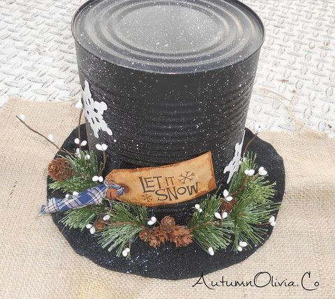 "Snowman Top Hat Centerpiece ""Let It Snow"" - Signature Selection - Free Shipping – Autumn Olivia Arts & Handmade"