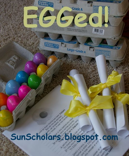 {EGGed}-much like the halloween phantom but you hide plastic, filled eggs in a friends yard, leave an empty egg carton on their porch, ring the doorbell and run. a great family tradition
