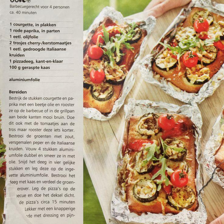 BBQ Pakketje: groenten, pizzadeeg in folie
