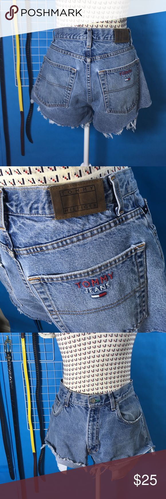 "Vintage tommy jean cutoff shorts - 12 Men's size 34 jeans cut into high waisted jean cutoffs. 34"" waist or women's size 12. 3"" inseam, 12"" rise, 11"" long at sides. Tommy Hilfiger Jeans"